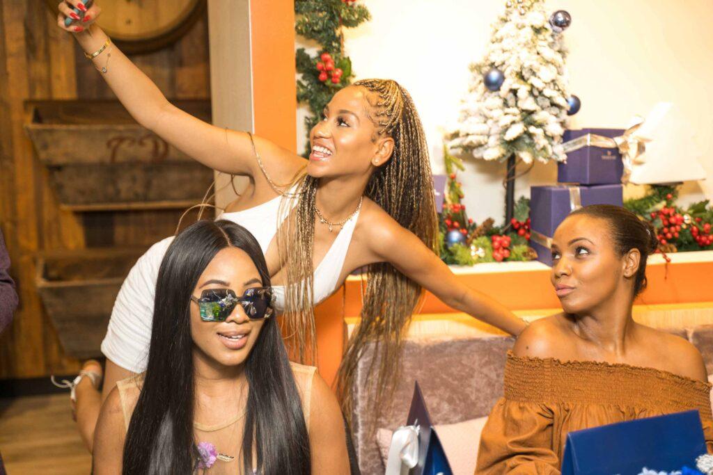 Erica nlewedim with 2 other IT girls at the swarovski nigeria crystal brunch