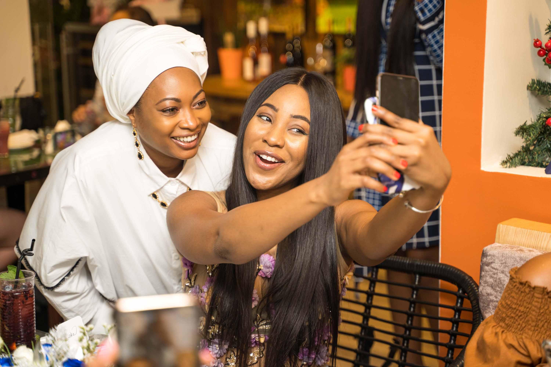 Fatima Ganduje ajumobi and Erica Nlewedim at the swarovski nigeria crystal brunch